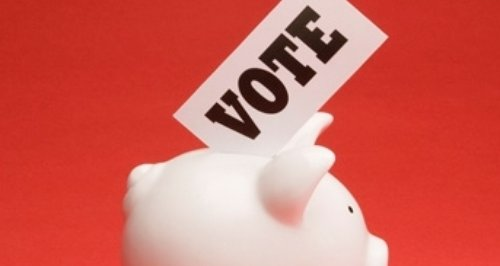 vote in piggy bank