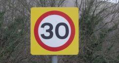 30 mph limit sign