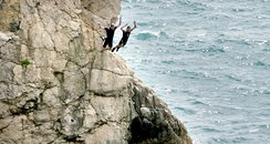Two men tombstoning