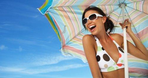 Summer Beach Girl and Umberella