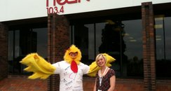 Woman in chicken suit