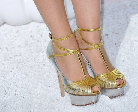 gold and silver shoes