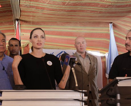 Angelina Jolie in Mafraq visiting Refugees