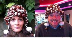 presenters in conker hats