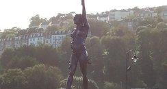 bronze, pregnant woman, statue, ilfracombe