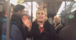Kim Wilde singing on a train