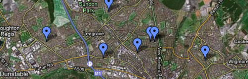 Luton Shootings Map