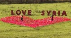 red heart of flags in cornwall for Oxfam's Love Sy