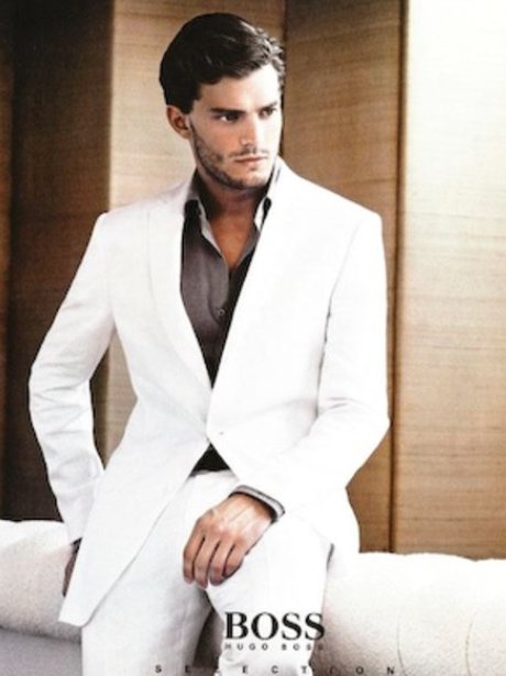 Jamie Dornan in white suit for Hugo Boss advert