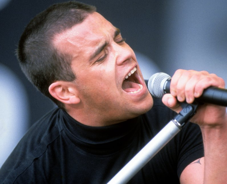 Robbie Williams live on stage in Belgium