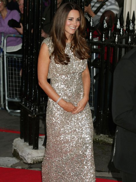 kate middleton in a sparkly silver dress
