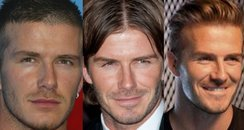 David Beckham changing hairstyles