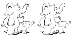 Black and white elephant spot the difference game