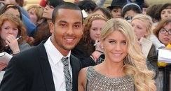 Theo Walcott and Melanie Slade on the red carpet