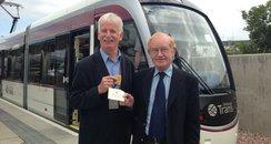 Tram passengers Alastair Byres & Norman Steven