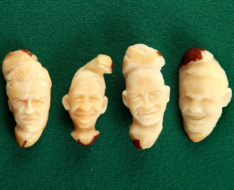 Footballers carved into nuts
