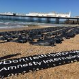 Body bag stunt on Brighton beach