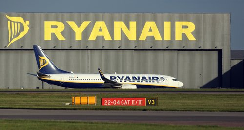 Ryanair passenger plane at Stansted Airport