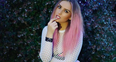 Perrie Edwards with pink hair