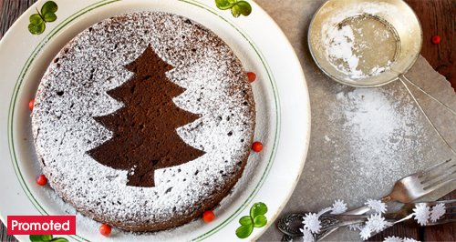 Christmas chocolate cake decorating with promo tab