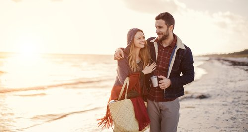 Winter Beach Couple