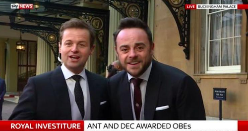 Ant and Dec Stand On Wrong Sides To Receive OBE's