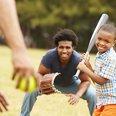 baseball, park, family