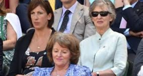 With mother at Wimbledon