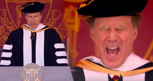 Will Ferrell sings whitney houston at USC graduati